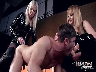 Nasty mistresses pegging session