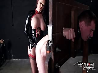 Massive strapon anal drilling to restrained slave