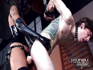 Pegging the tattooed male slave