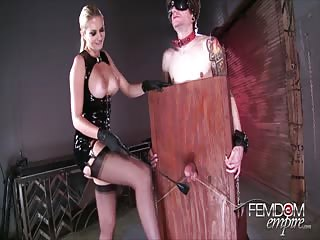 Brutal male slave's orgasm by wicked blonde