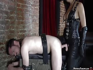 Bondage strapon male slave