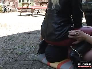 Leather pants worshiping