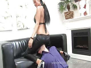 Mistress Aurora leather ass facesitting