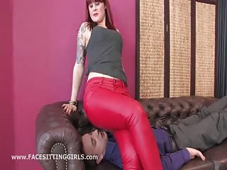 Red leather pants on his face