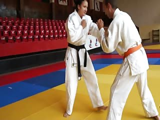 Judo fighter teaching man's lesson